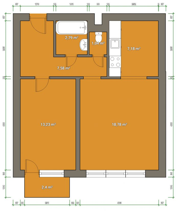 dispozice, plánek, byt s balkónem