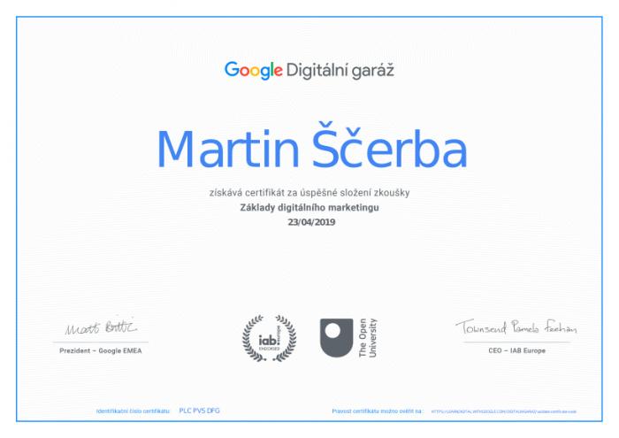 certifikace google